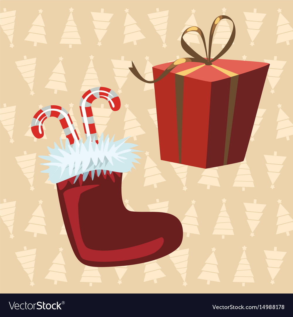 Santa claus boots and red gift yellow background