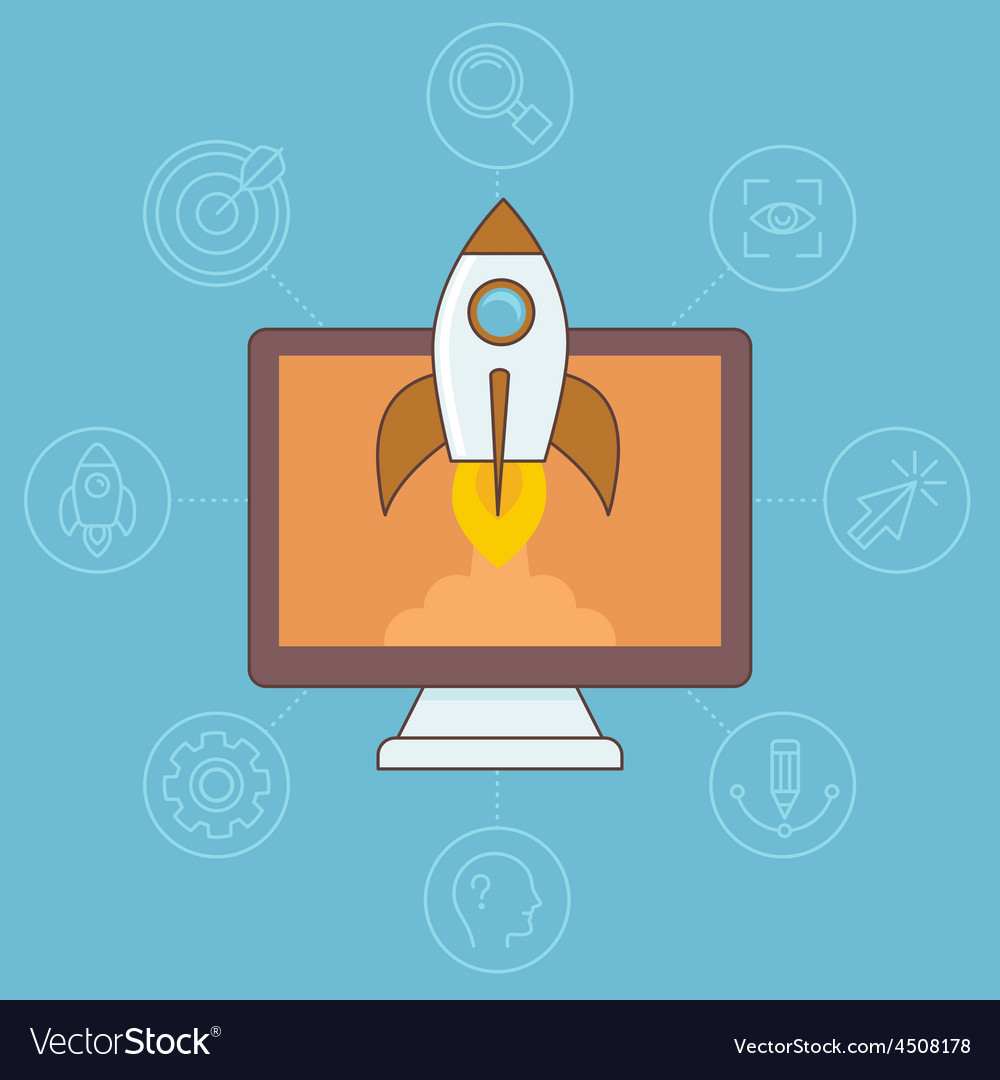 Start up concept in flat linear style vector image