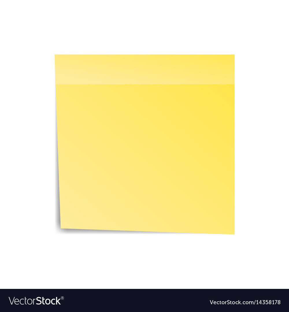 Yellow sticker paper note for notice sticky page vector image