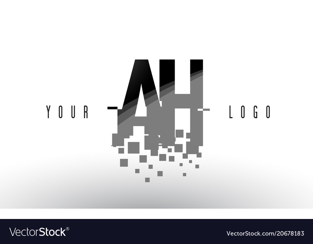 Ah a h pixel letter logo with digital shattered