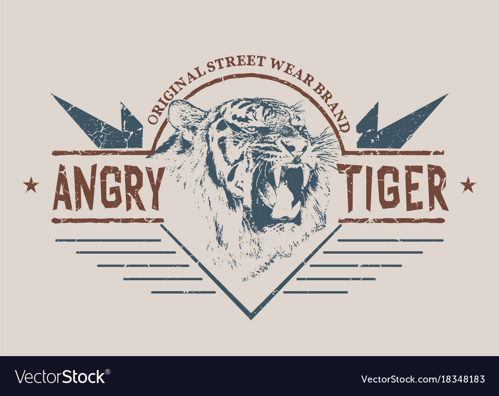Angry tiger retro label