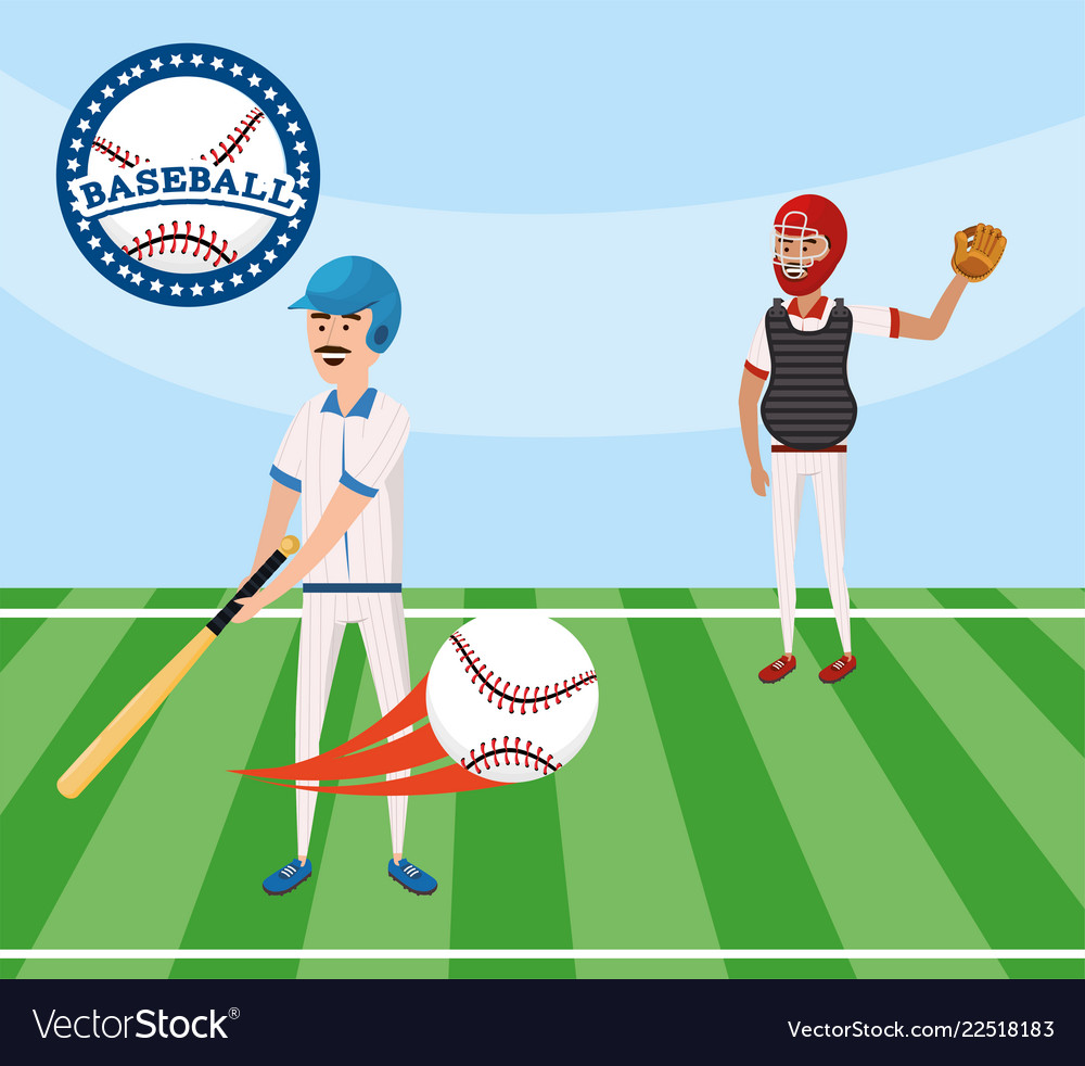 Baseball players competition with uniform in the