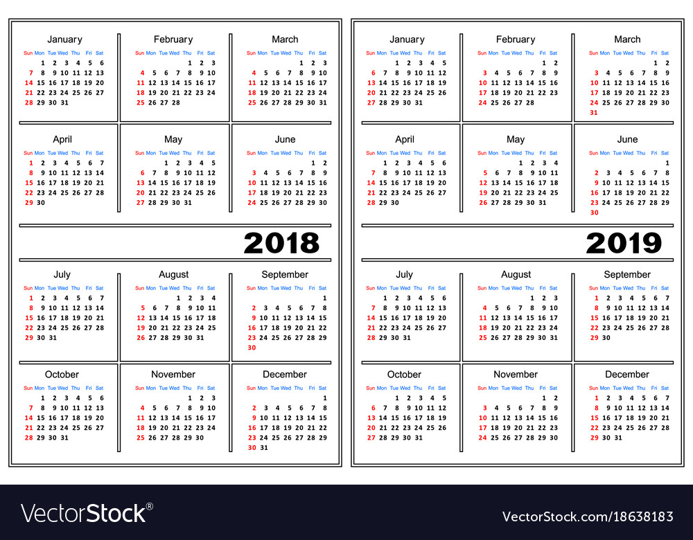 Calendar Template 2018 2019 Royalty Free Vector Image