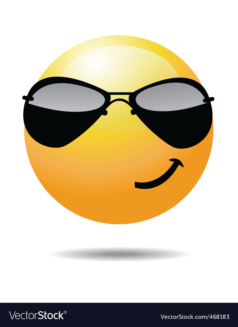 cool smiley vector image