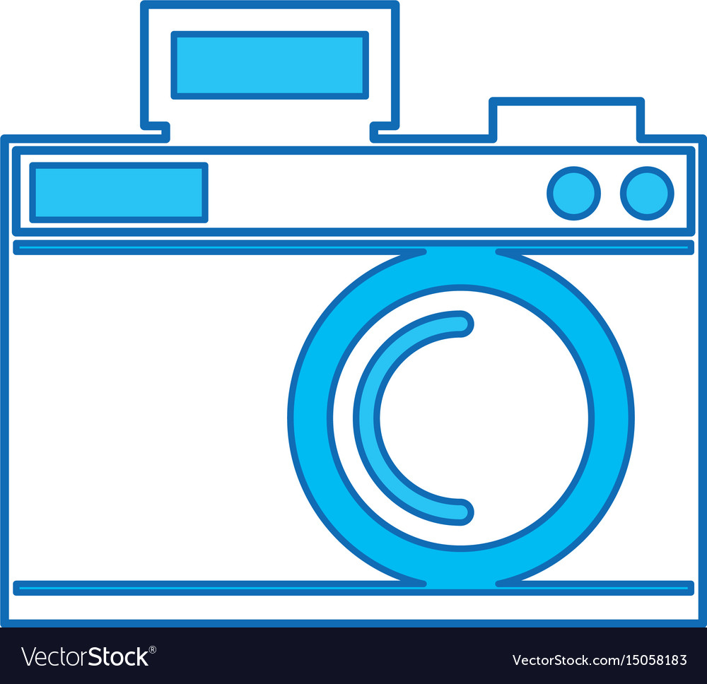 Cute blue icon camera cartoon vector image