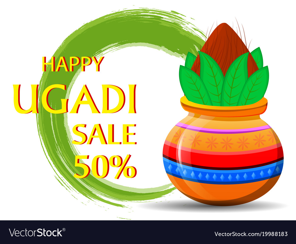 Happy ugadi greeting card with beautiful vector image m4hsunfo