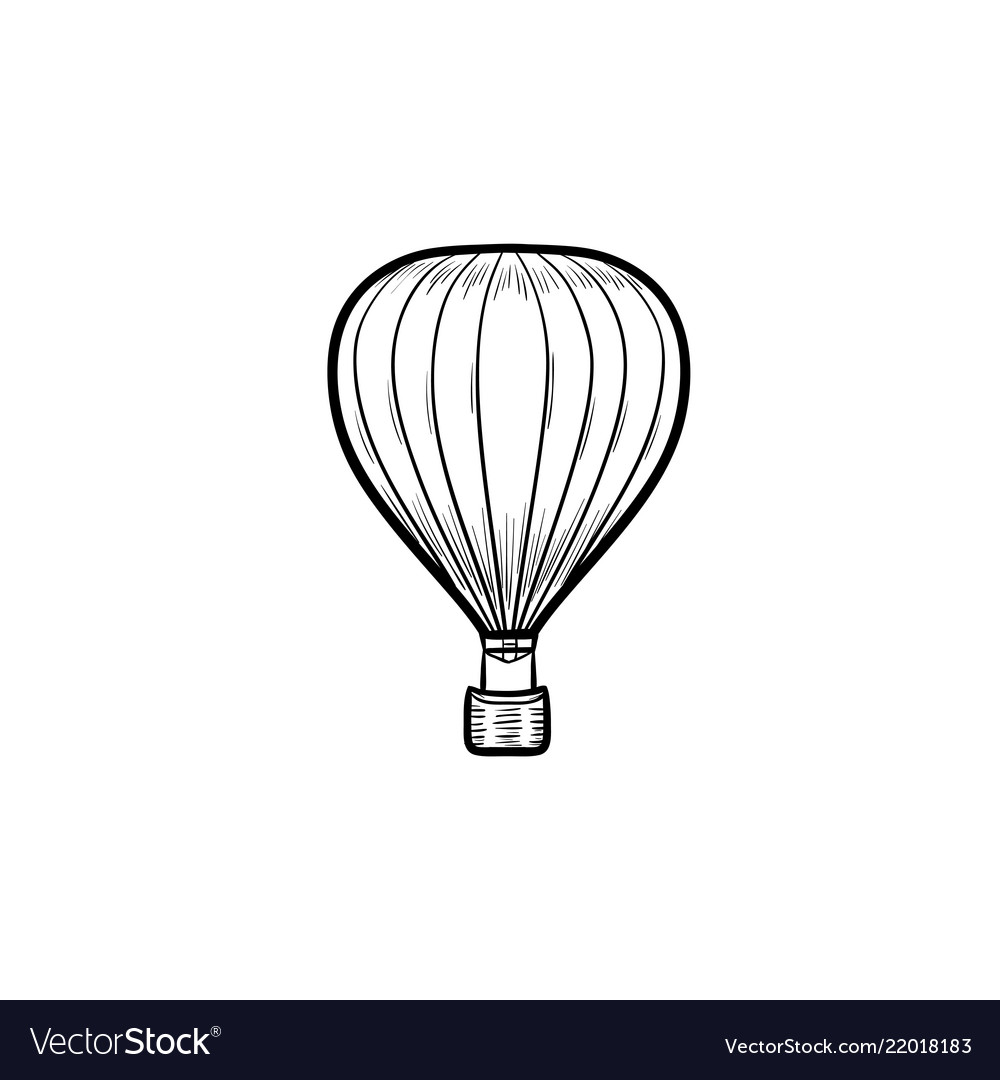 Hot air balloon hand drawn outline doodle icon