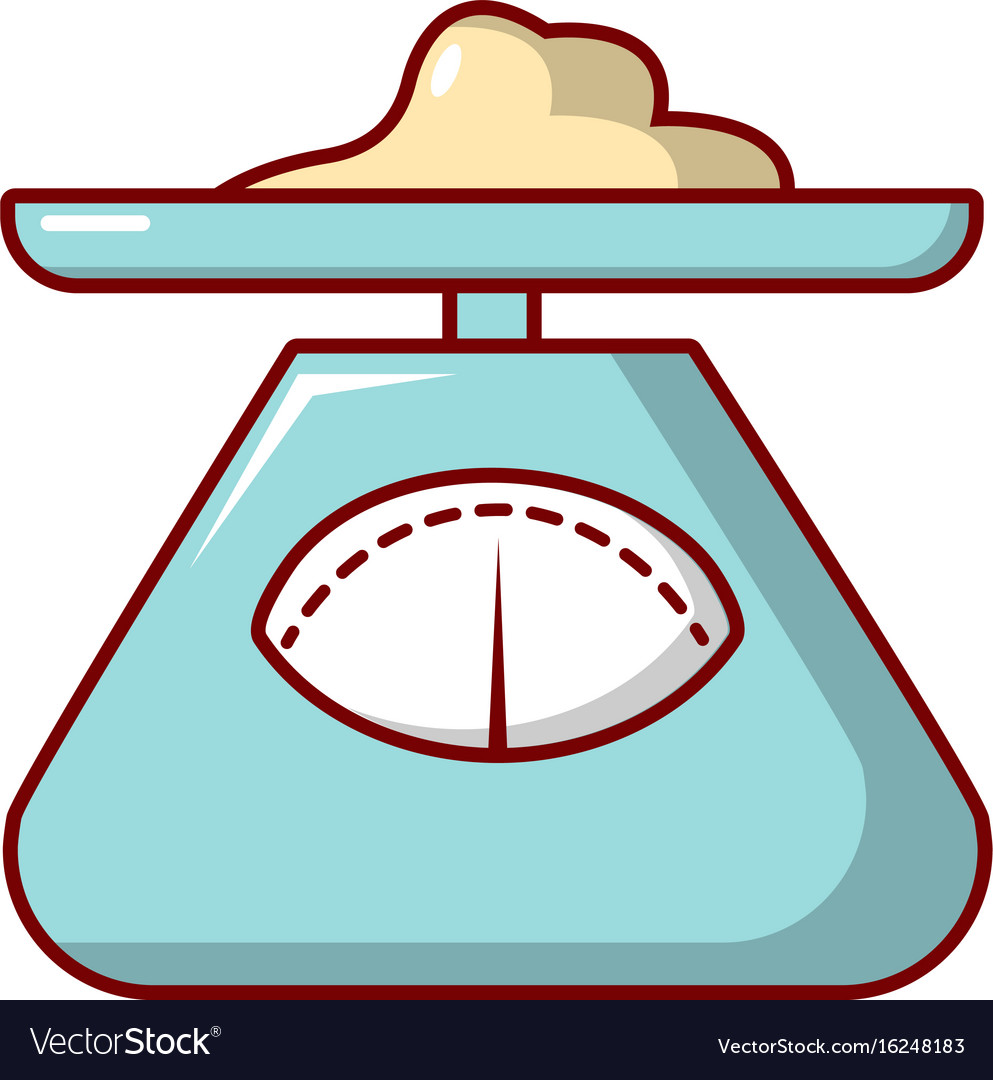 Kitchen scales icon cartoon style Royalty Free Vector Image