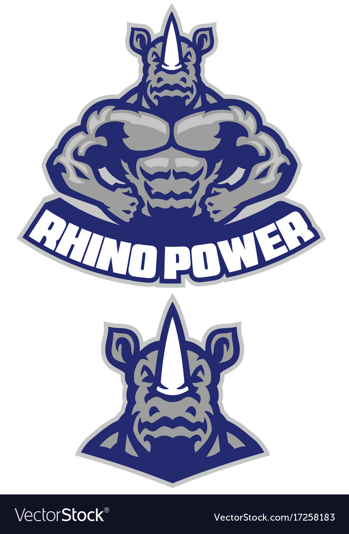 Muscular rhino mascot show his athletic body vector image