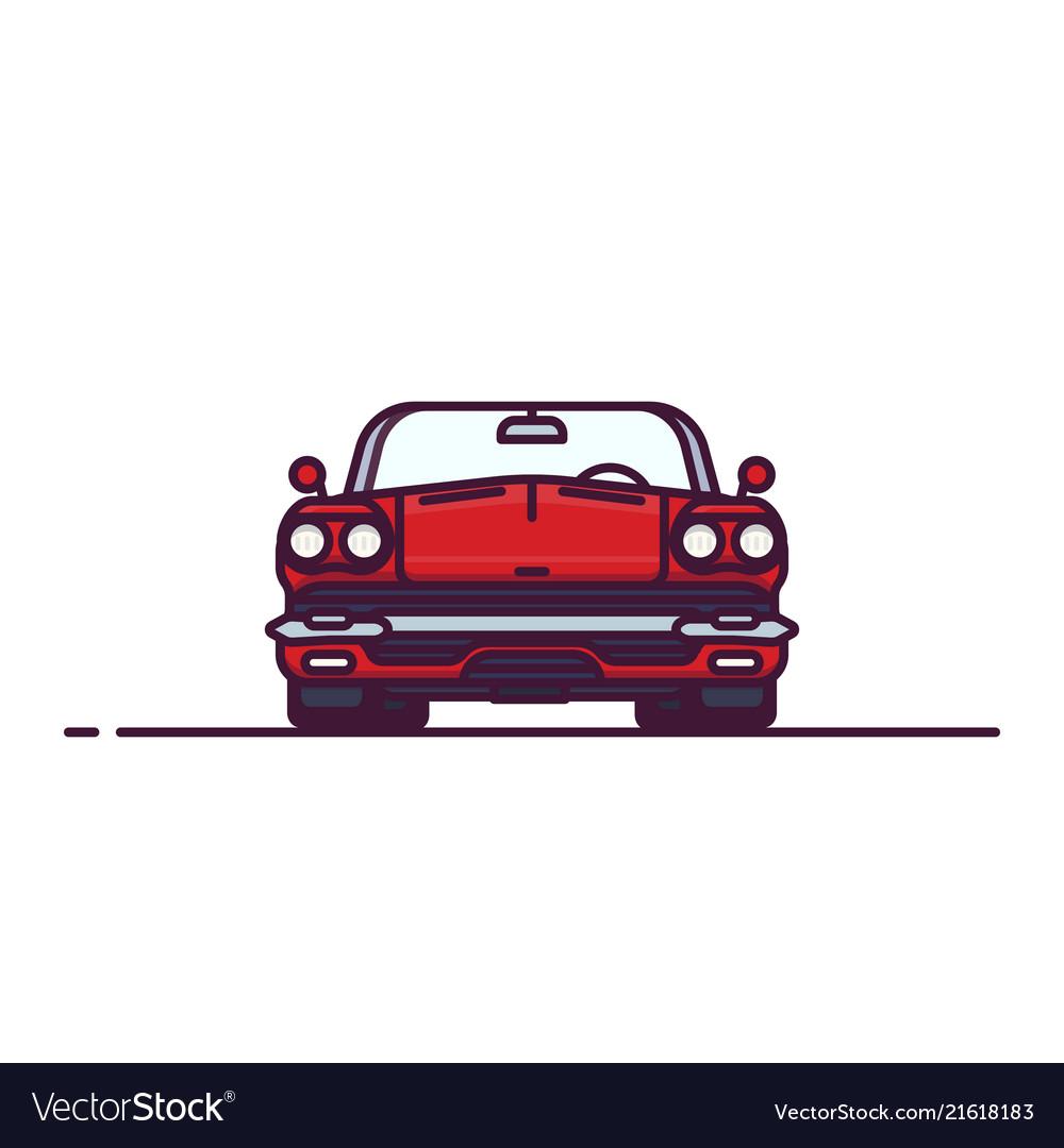 Red retro cabrio front view
