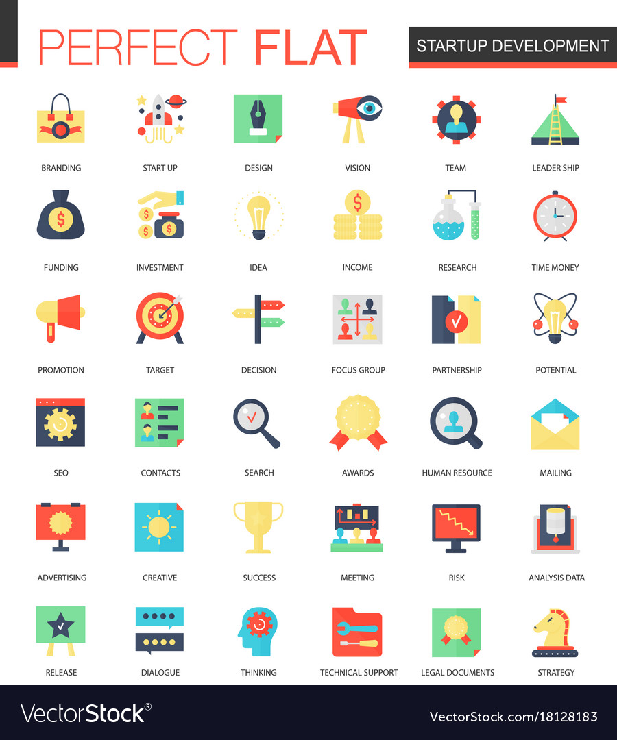 Set of flat startup and development icons