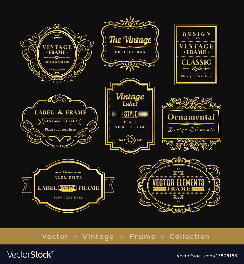 Vinage gold retro logo frame badge design element
