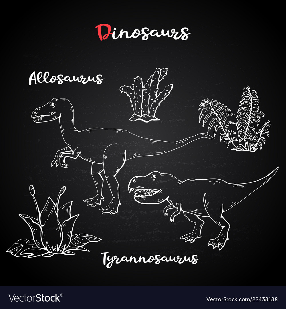 Allosaurus and tyrannosaurus with plant and