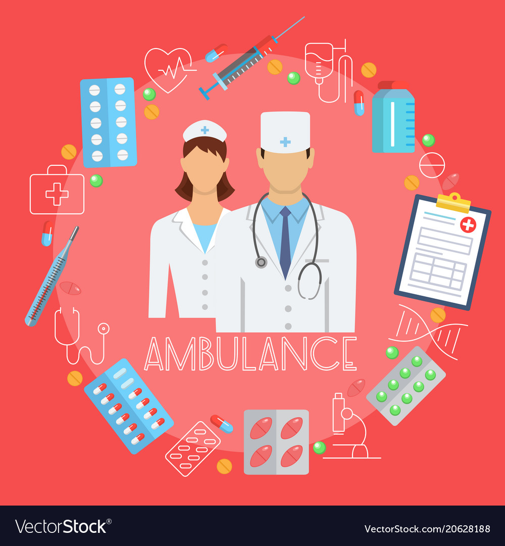 Ambulance poster with flat icons