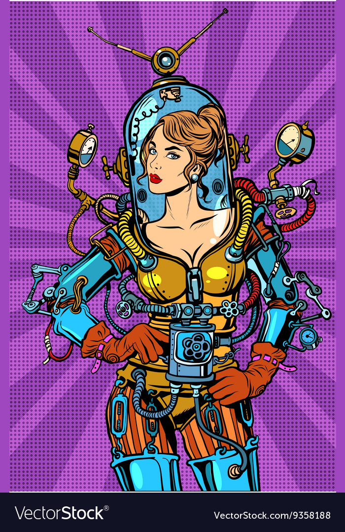 Beautiful futuristic girl in a sexy space suit vector image