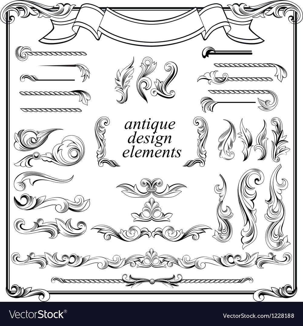 Calligraphic design elements page decoration set vector image