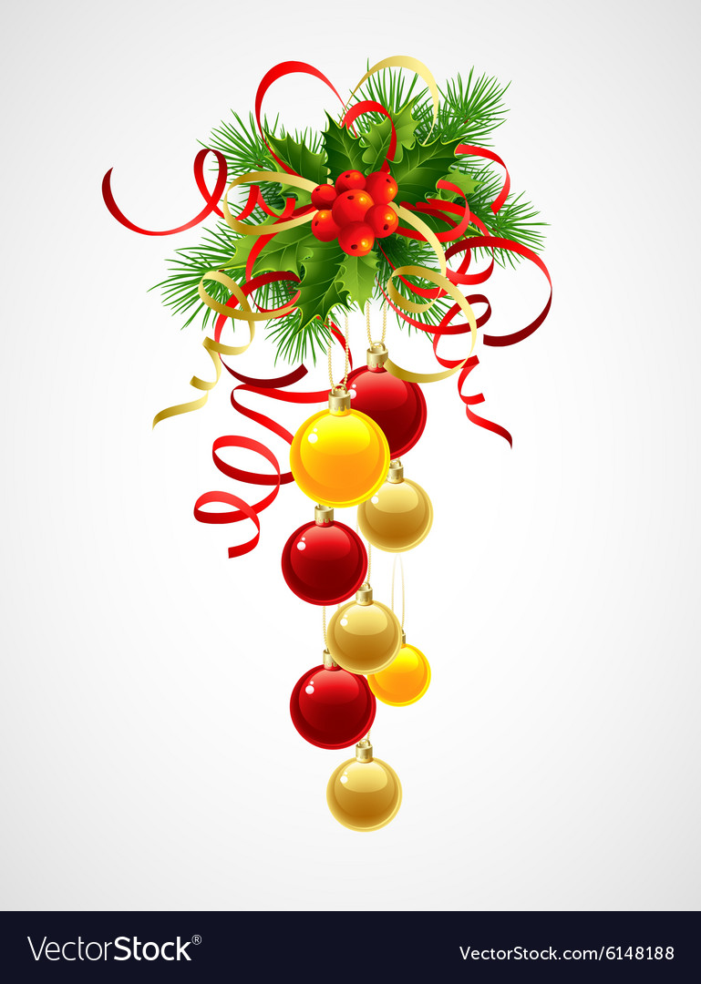 Christmas decoration holly with berries and