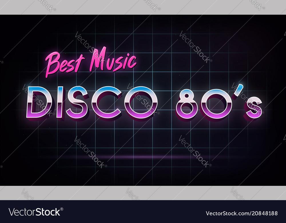 Disco 80s best music - banner retro 1980s neon