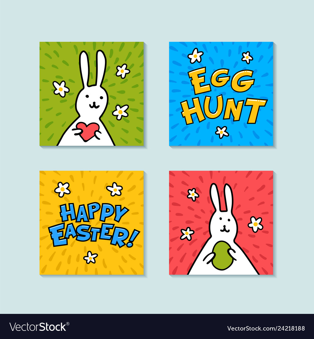 Happy easter mini greeting cards egg hunt and