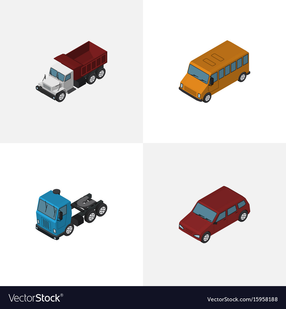 Isometric automobile set of car truck freight