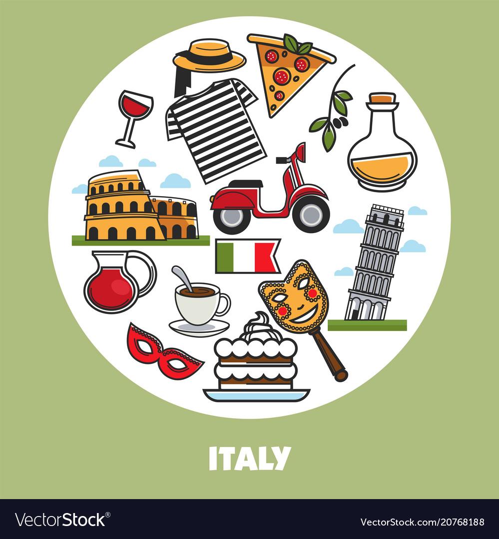 Italy travel landmark symbols poster