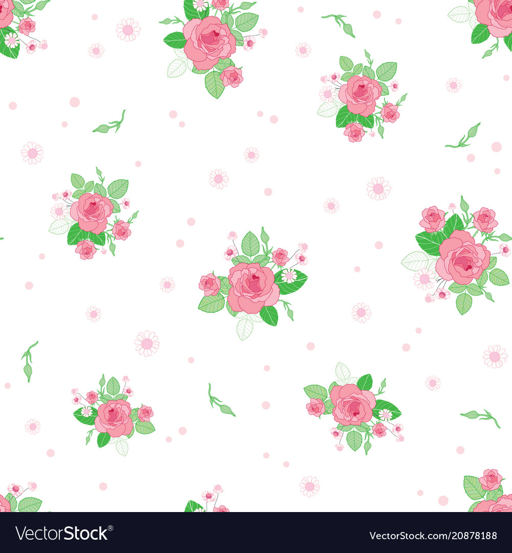 Pink green roses ditsy vintage seamless pattern