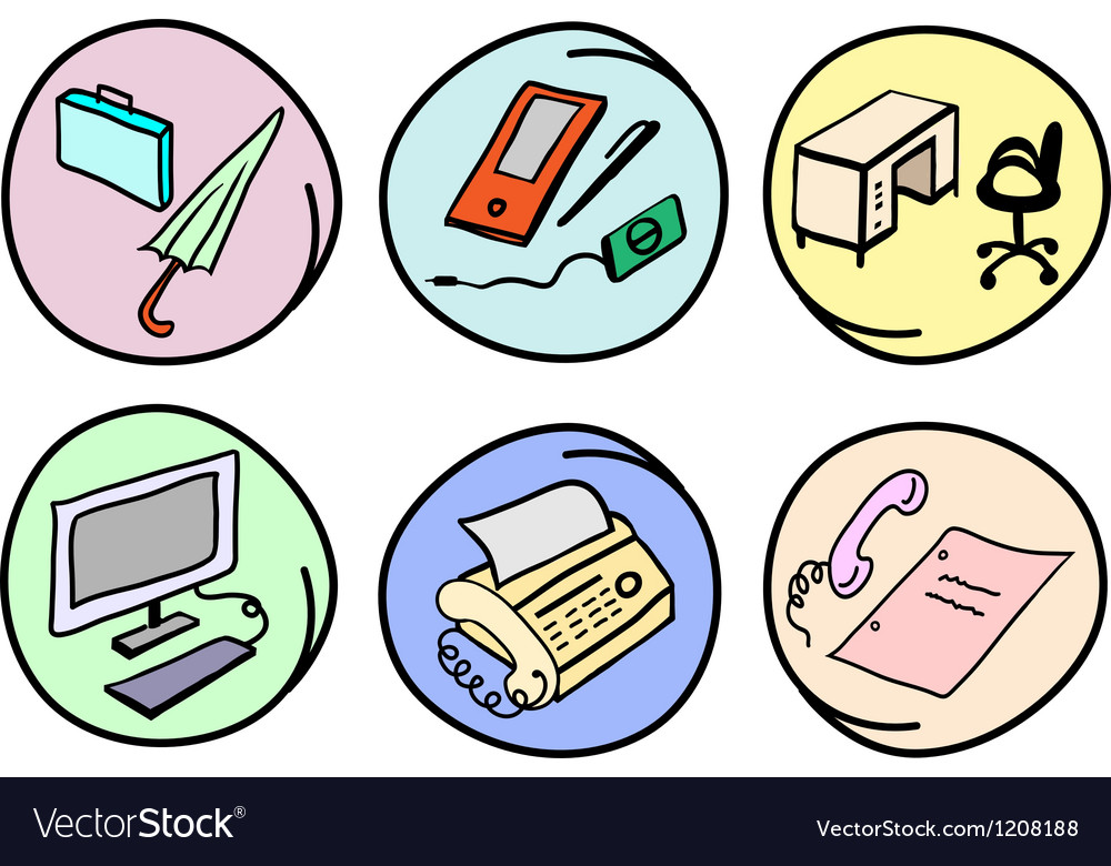 Set of Office Supplies on Round Background vector image