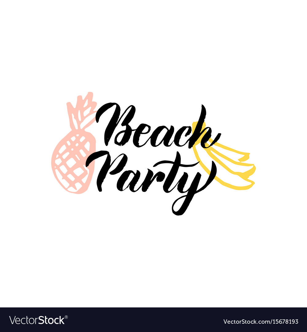 Beach party lettering vector image