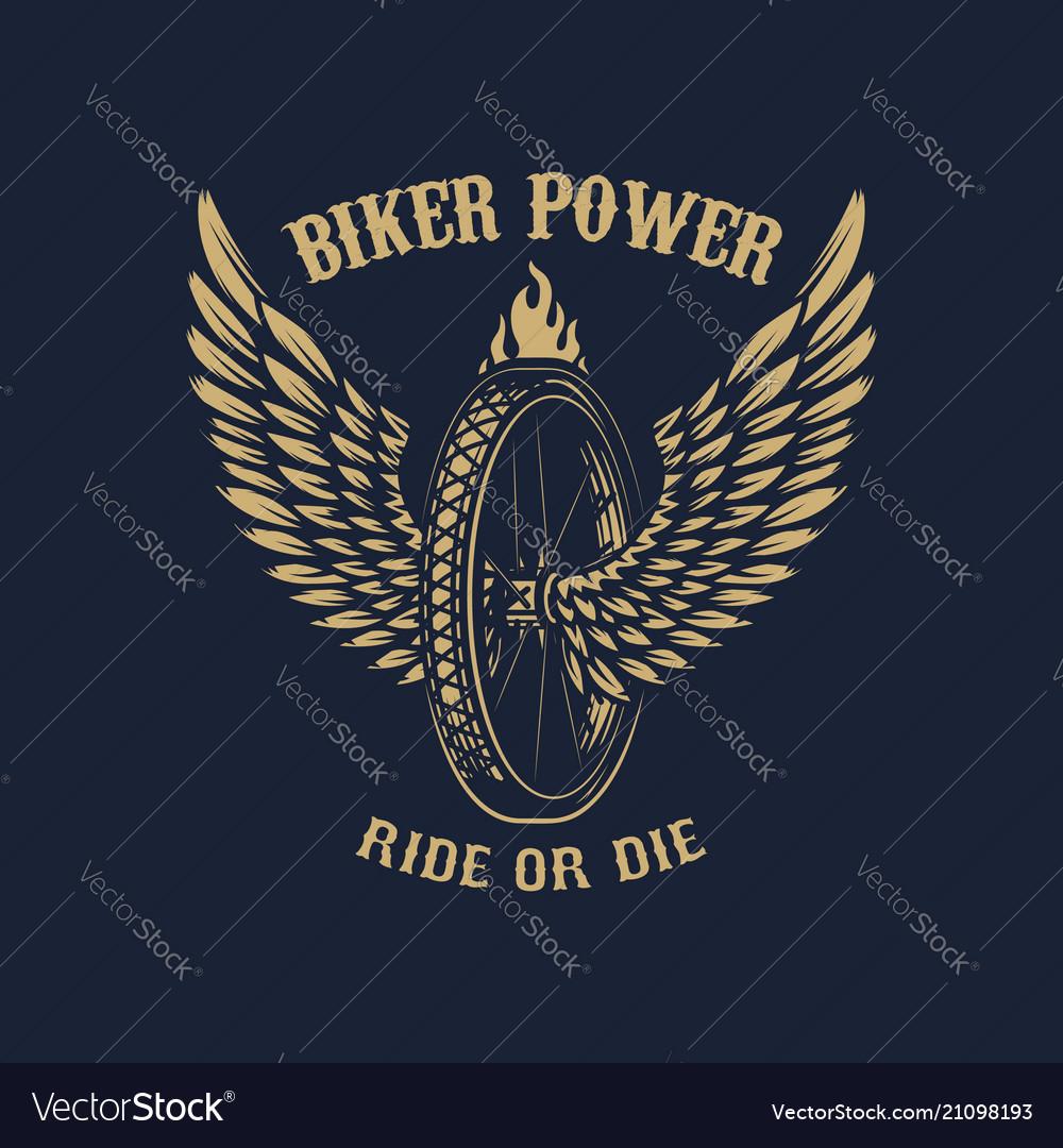 Biker power winged wheel on dark background