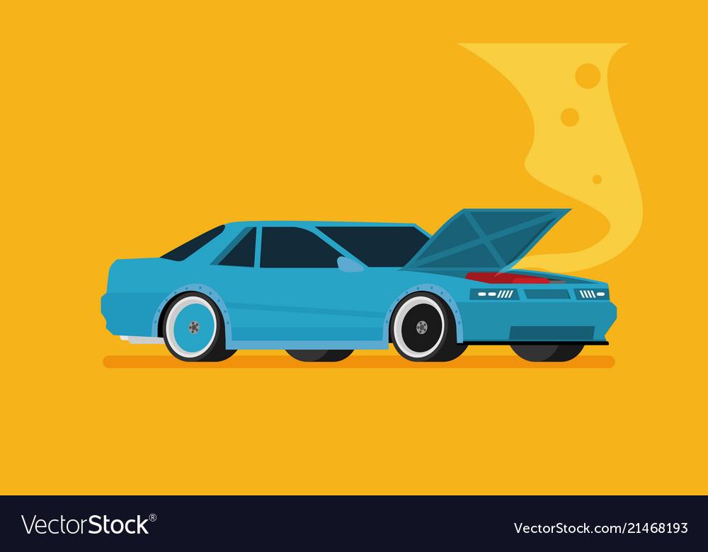 Broken Car Cartoon Flat Royalty Free Vector Image