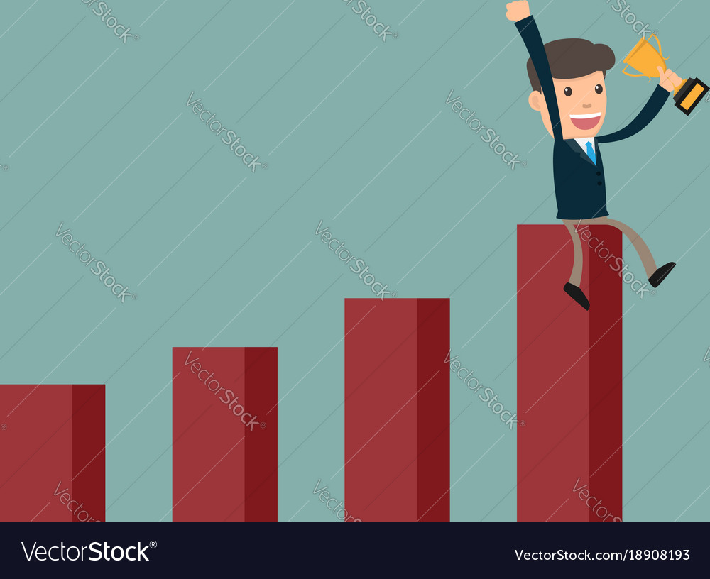 Business man success sitting on growth graph with vector image