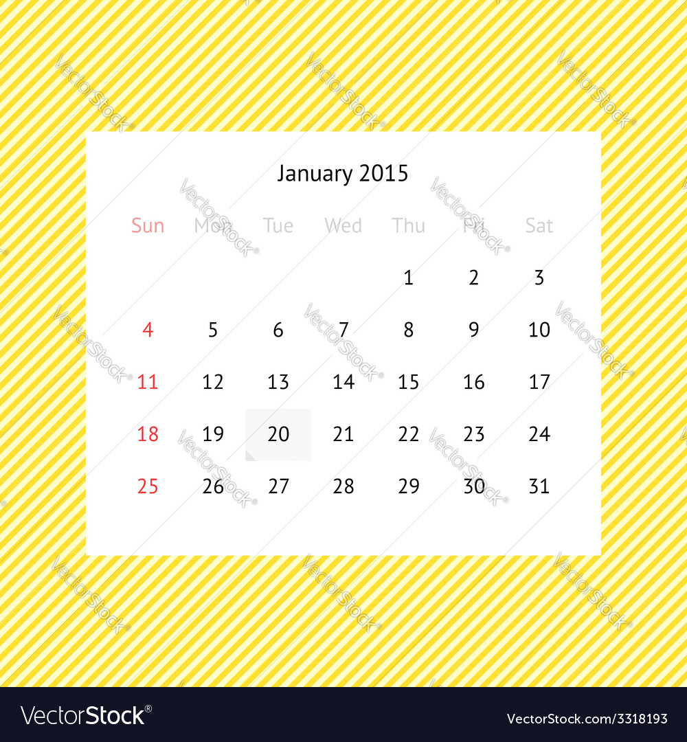 Calendar page for January 2015