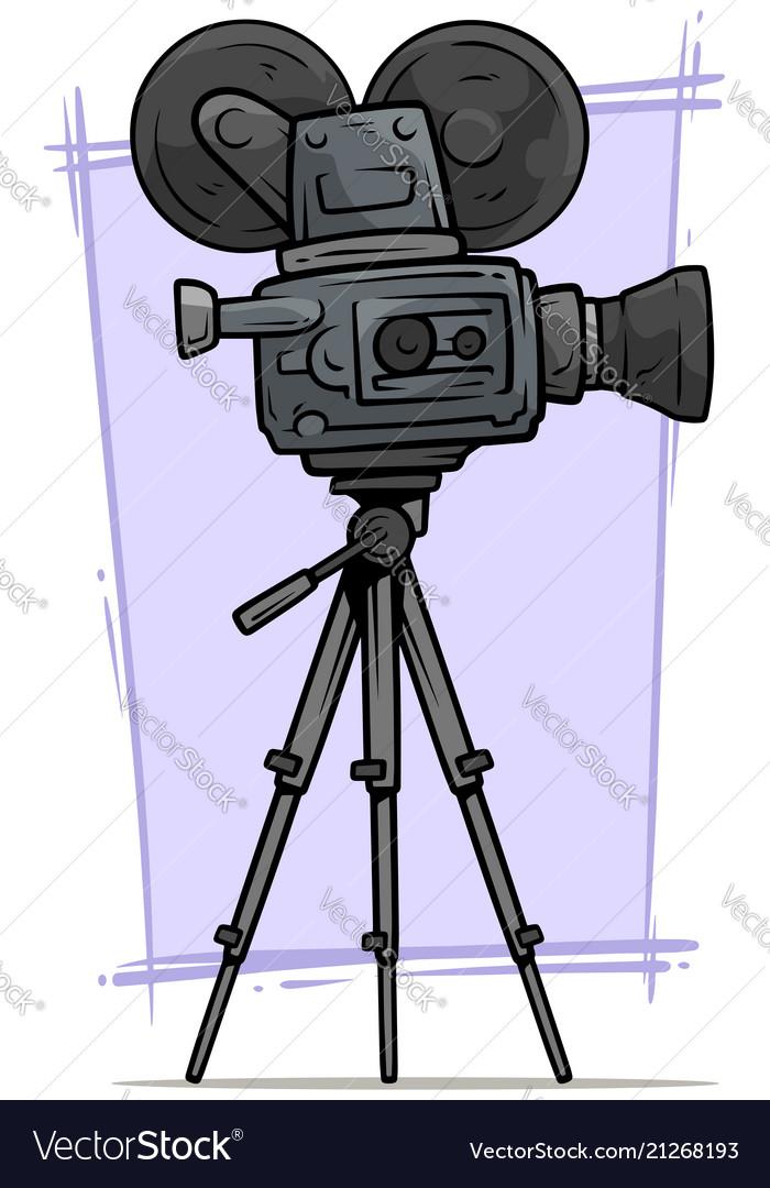 Cartoon vintage retro movie camera on tripod