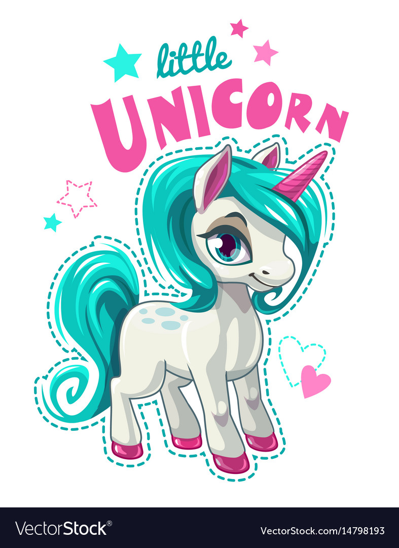 Cute cartoon unicorn patch vector image