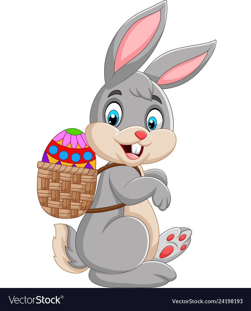 Easter bunny carrying basket of easter egg