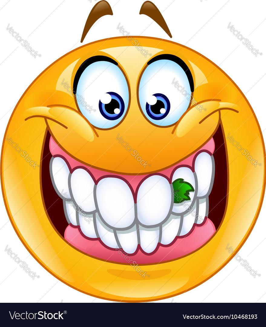 Food stuck in teeth emoticon vector image