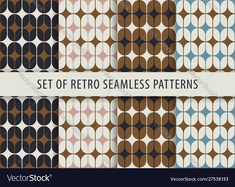 Geometric seamless pattern set abstract retro
