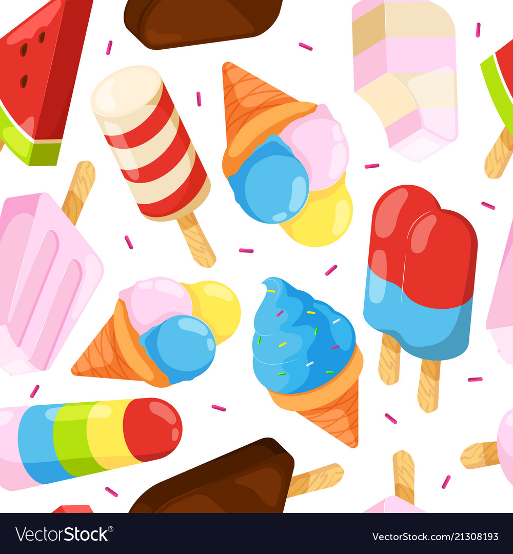 Ice cream seamless pattern colored cartoon