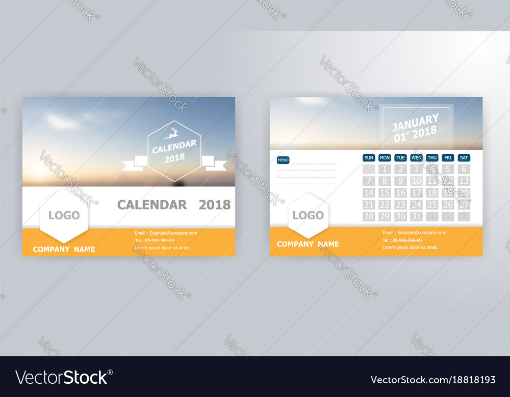 January calendar 2018 template vector image