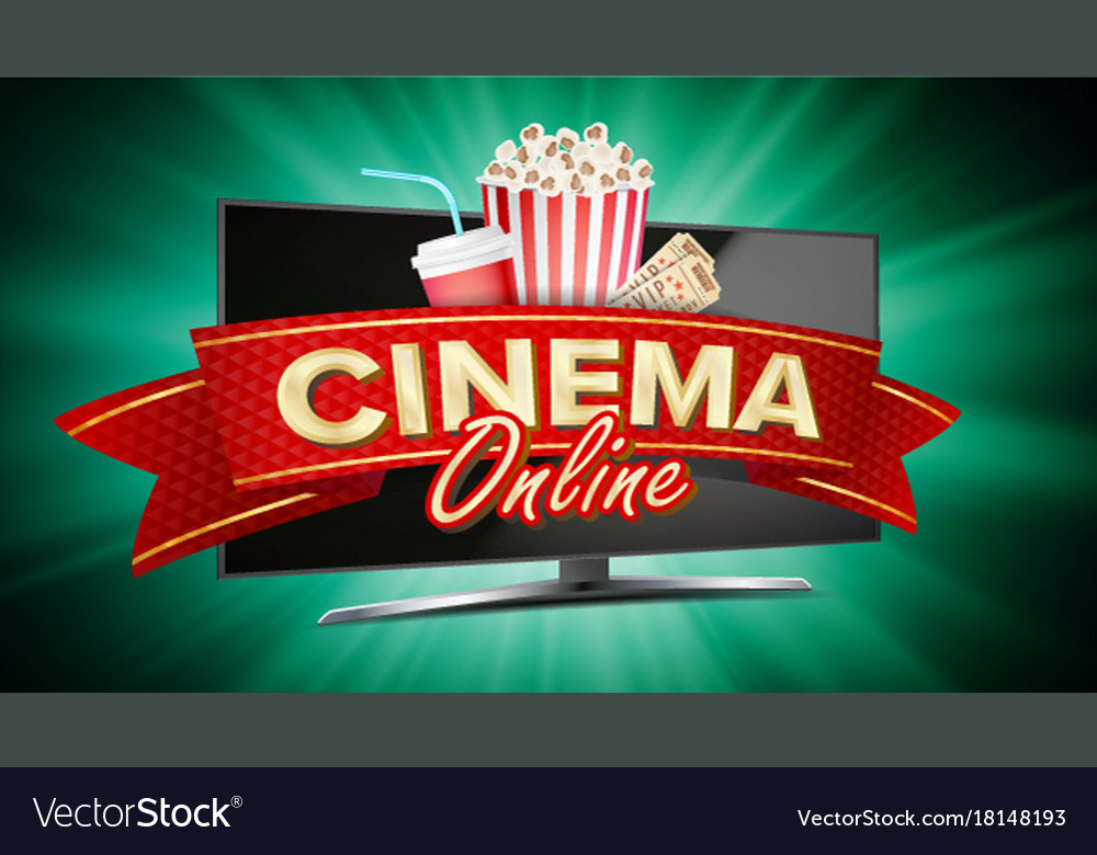 Online cinema banner realistic computer
