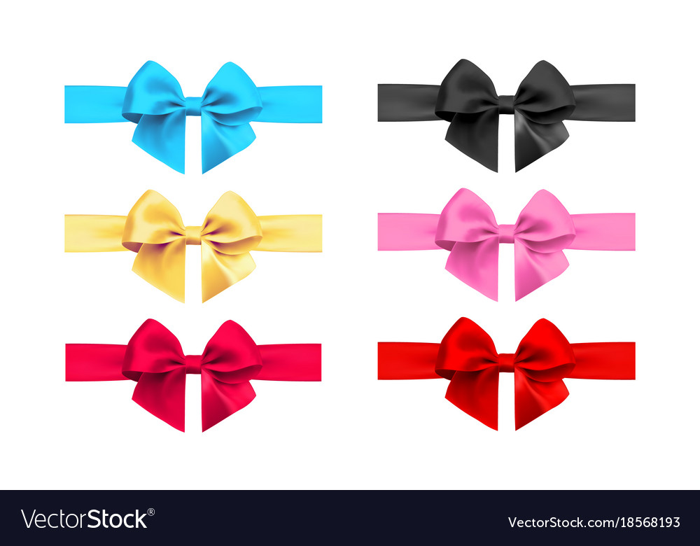 Realistic bow and ribbon set element for vector image