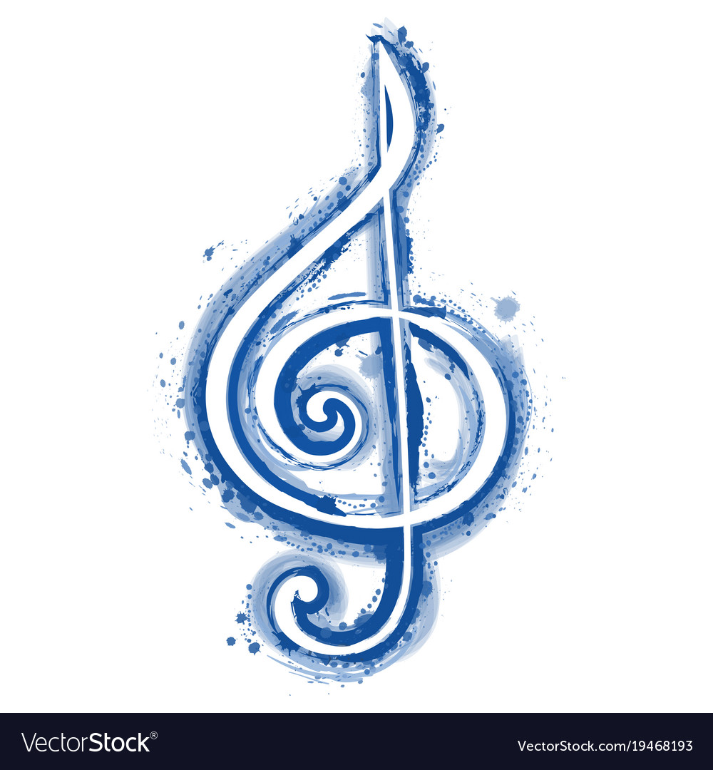 Watercolor sign treble clef for a musical concert