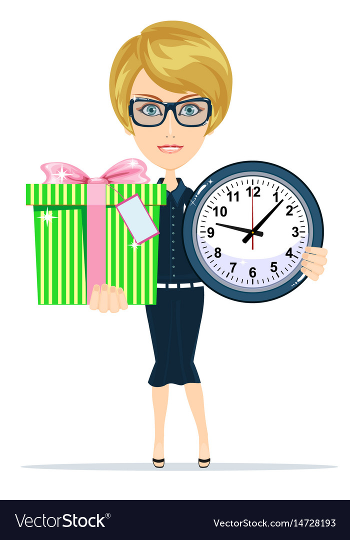 Woman holding a gift box and clock vector image
