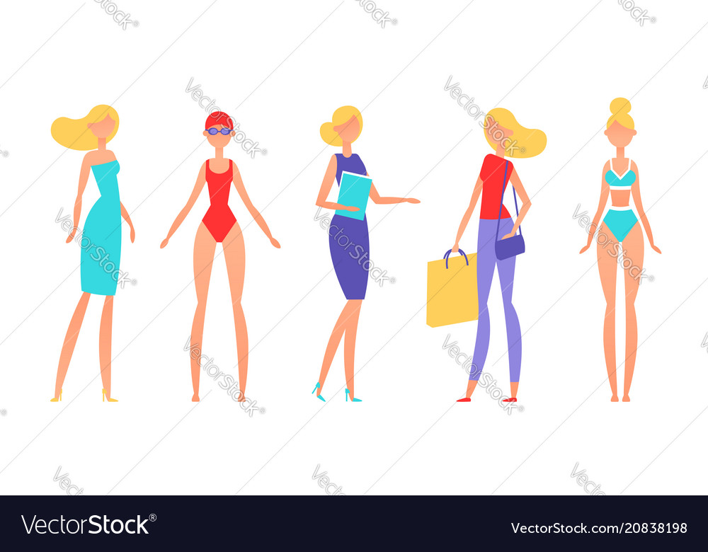 Blonde woman in different styles of clothes with