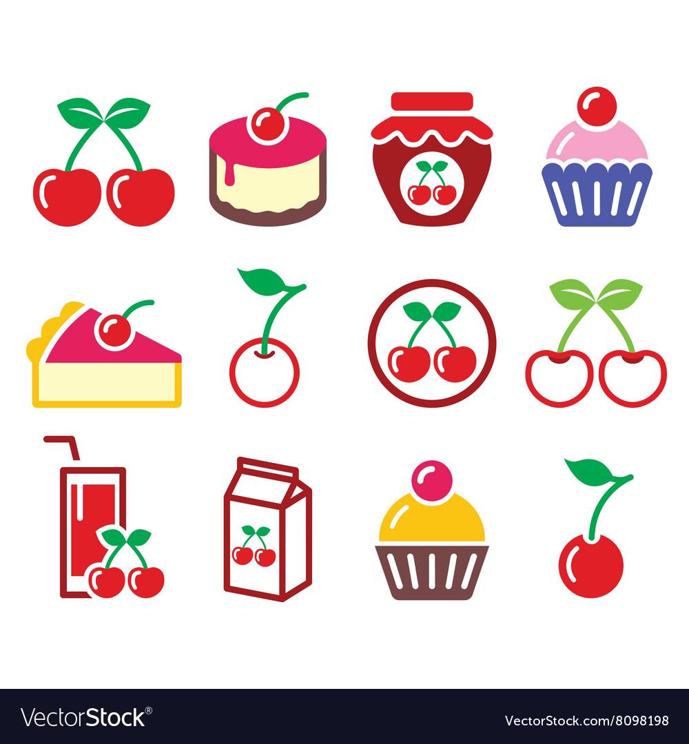 Cherry fruit cake jam icons set