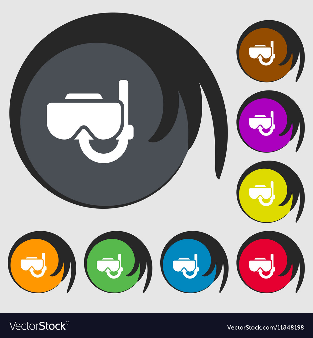 Diving mask icon sign Symbols on eight colored