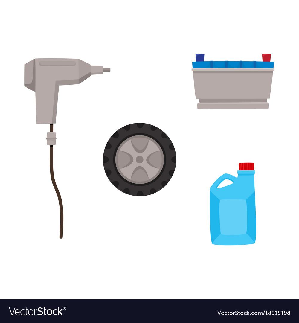 Flat car service maintenance icons set