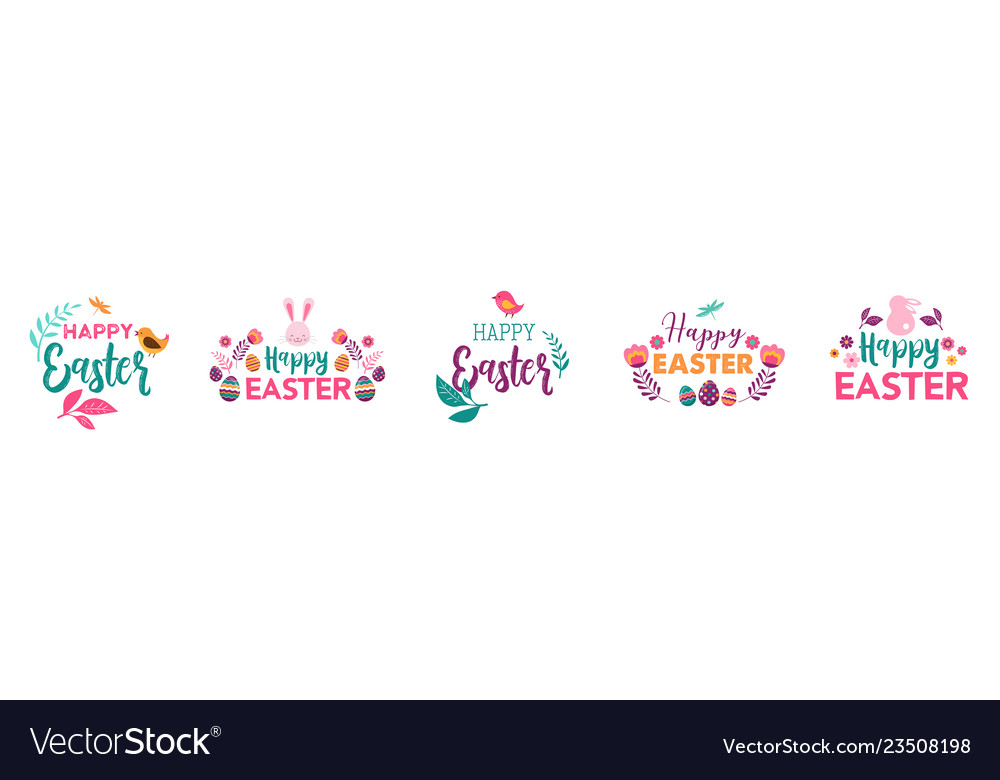 Happy easter symbols logo badges and