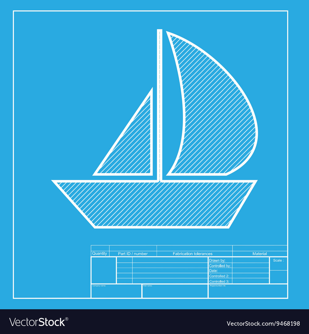Sail boat sign white section of icon on blueprint vector image malvernweather Choice Image