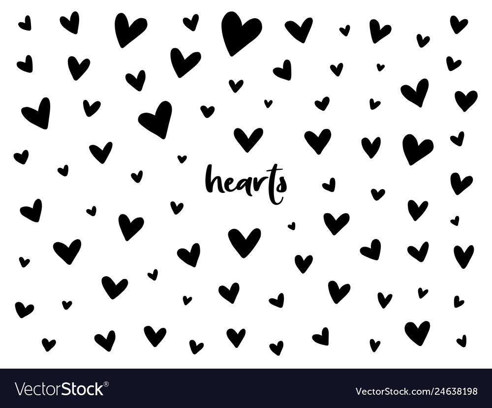 Set of black hand drawn hearts